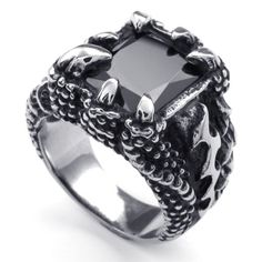 Stainless Steel Clawed Cubic Zirconia Crystal Ring