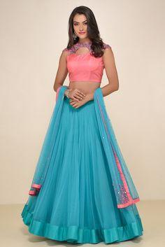 VRUSHALI SATRE Pink And Blue Embroidered Lehenga #flyrobe #weddings #indianbride #lehenga #sangeetlehenga #lehengacholi #designerlehenga