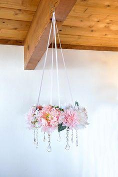 Flower mobile crystal chandelier nursery decor nursery