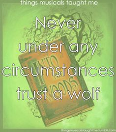 Into the Woods  ~ Things Musicals Taught Me,  ~ ☮ Broadway Musical Quotes  ☮