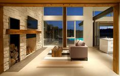 big home with tv and fireplace