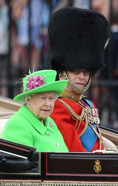 Prince Philip (95 on June 10, 2016) and Queen Elizabeth II (90 in April 2016) in Trooping the Colour 2016