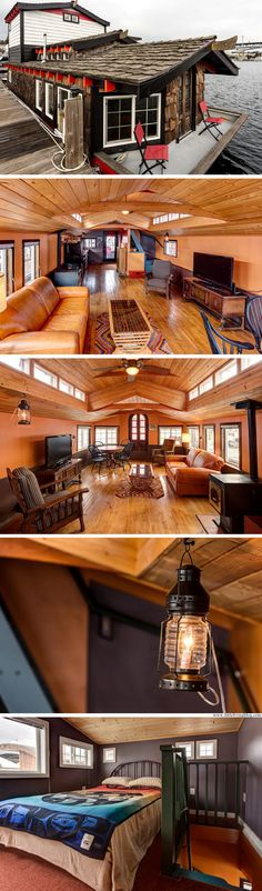My Boats Plans - The Haida House: a 600 sq ft houseboat in the Seattle Harbor Master Boat Builder with 31 Years of Experience Finally Releases Archive Of 518 Illustrated, Step-By-Step Boat Plans Houseboat Living, Houseboat Decor, Houseboat Ideas, Floating House, Tiny Spaces, Tiny House Living, Tiny House Design, Design Homes, Boat Plans
