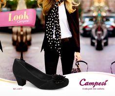 Preto & branco é combinação certeira! Aposte no sapato Campesí + uma echarpe retro. #confortoCampesí