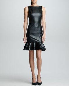 Big Dream! Ralph Lauren Black Label Ruffled Leather Dress, Black - Neiman Marcus