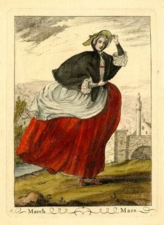 A lady walking to right, her hooped skirts and apron swaying behind her in the…