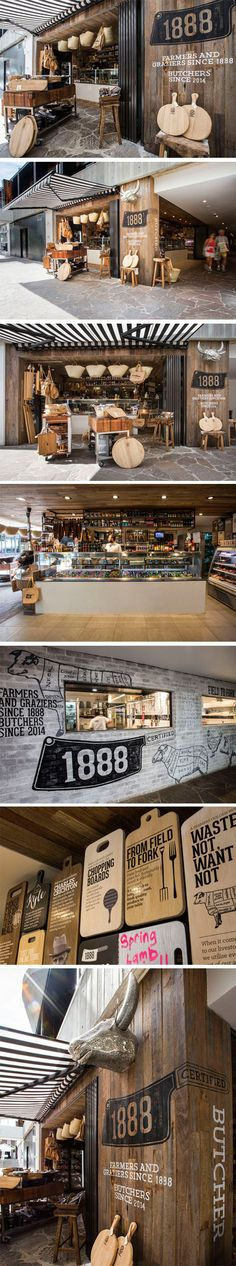 1888 Certified Butcher brands at every touchpoint and creates a customer experience to remember. Restaurant Design, Restaurant Hotel, Cafe Bar, Cafe Shop, Retail Interior, Cafe Interior, Cafe Design, Store Design, Corner Deco