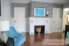 Beautiful gray walls with houndstooth wallpaper accent :: OrganizingMadeFun.com