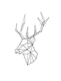 'Geometric Deer' T-Shirt by Alice Bouchardon - Origami 5 Geometric Deer, Geometric Drawing, Geometric Designs, Geometric Shapes, Deer Head Tattoo, Head Tattoos, Elk Tattoo, Tattoo Geometrique, Deer Illustration