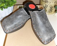 NEW Auth CYD Cydney Mandel Anthro Black Leather Clogs Mules Slides Shoes 5 | $55 on eBay