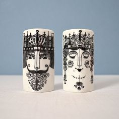 love these! #design #illustration // Vintage Scandinavian King and Queen Shakers
