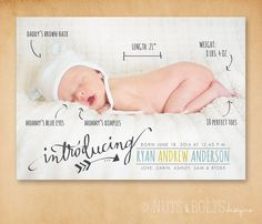 This birth announcement features your childs stats in a creative way!    When ordering, choose YOU PRINT by purchasing the digital file or I PRINT by