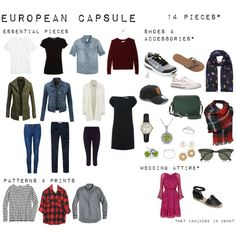 A European Capsule with over 30 different outfits using 14 pieces