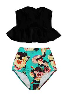 Black Long Peplum Top and Mint Floral Flora High waisted Swimsuit M #Handmade #Bikini