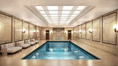 The indoor pool at the Woolworth Tower Residences