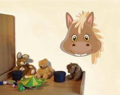 Buntes Wandtattoo Tiergesicht Pferd. Tiergesicht Pferd Wandtattoo in einer Breite ab 30cm