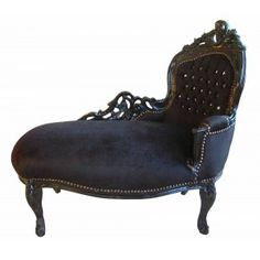 Baroque daybed black velvet with stones and black wood