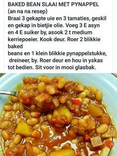 Braai Recipes, Rib Recipes, Cooking Recipes, Bean Salad Recipes, Vegetable Recipes, Baked Beans Salad, Best Ribs Recipe, Dessert Salads, South African Recipes