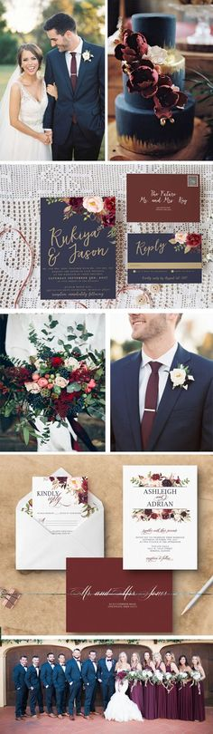Navy and Marsala wedding