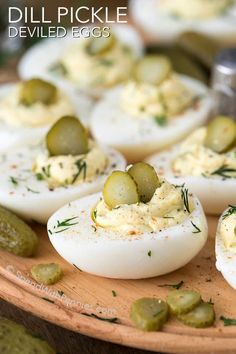 Dill pickle deviled eggs- Deviled Eggs are the perfect addition to any party or gathering and a staple at our ham dinners! These are the best deviled eggs I've ever had with the addition of tangy dill pickles, fresh dill and a splash of pickle juice. Fried Deviled Eggs, Best Deviled Eggs, Deviled Egg Dip, Jalapeno Deviled Eggs, Perfect Deviled Eggs, Food Network Recipes, Cooking Recipes, Devilled Eggs Recipe Best, Deviled Eggs Recipe With Pickle Juice