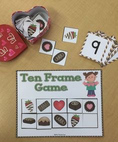 "What a great way to enjoy chocolates! Your students will have fun learning and reinforcing their number recognition and addition and subtraction skills with these math games! Use them in your math centers or as part of your group work.  *Ten Frame Game: directions heart mats candy box mat recording sheet number cards 0-60 blank number cards ""fun"" cards chocolate pieces"