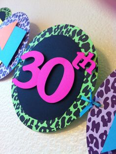 Happy Birthday 80's Banner  hot pink neon by AdrisPaperPerfection, $28.00