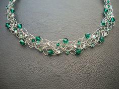 Crocheted tarnish free wire and swarovski crystal necklace. CJEWELRY