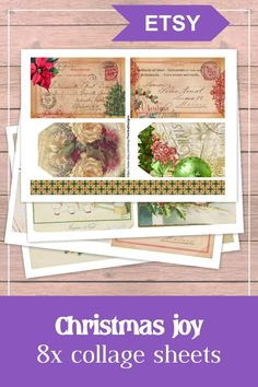 Christmas joy - printable vintage ephemera pack, 8 pages - 72 elements. This Christmas themed ephemera pack is a digital printable kit with lots of pieces. They are ideal for decorating any junk journal, diary, planner or any other paper-craft project. #christmas #printable #ephemera #vingate #digital #junkjournal #collagesheet Journal Diary, Journal Cards, Junk Journal, Vintage Ephemera, Vintage Cards, Vintage Postcards, Diary Planner, Printable Vintage, Collage Sheet