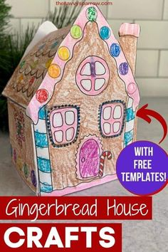 Preschool Christmas Crafts, Christmas Crafts For Kids To Make, Christmas Activities For Kids, Christmas Paper Crafts, 3d Christmas, Simple Christmas, Christmas Ideas, Easy Gingerbread House, Gingerbread Crafts