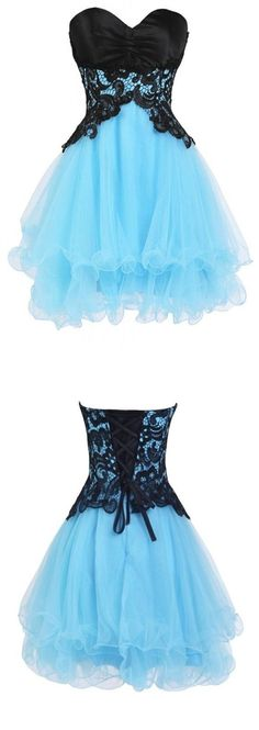 2017 Homecoming Dress Blue and Black Lace Short Prom Dress Party Dress JK260