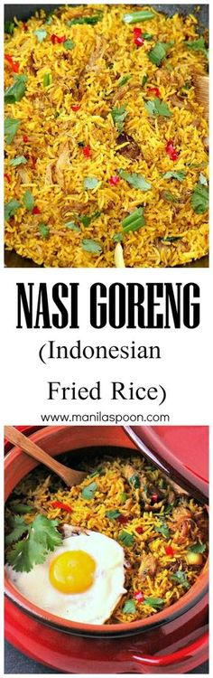 so aromatic and full of flavor is this Indonesian Fried Rice (Nasi Goreng)! Easy and delicious side dish for sure!Oh so aromatic and full of flavor is this Indonesian Fried Rice (Nasi Goreng)! Easy and delicious side dish for sure! Indian Food Recipes, Asian Recipes, Vegetarian Recipes, Cooking Recipes, Ethnic Recipes, Cooking Tips, Indian Foods, Couscous, Rice Dishes