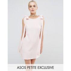 ASOS PETITE Rib Bow Mini Shift Dress (£29) ❤ liked on Polyvore featuring dresses, petite, pink, petite short dresses, pink mini dress, bow dress, shift dresses and ribbed mini dress