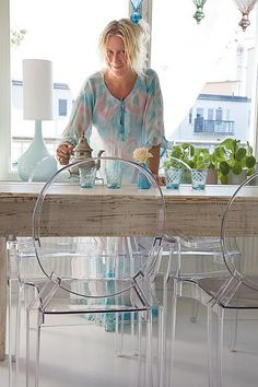 rustic table + ghost chairs (My splurge...Table Restoration Hardware and ghost chairs Overstock!)