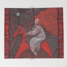 Red Horse, redhaired woman, magic night forest, folk art Throw Blanket by Clipso-Callipso | Society6 #red, #orange, #ginger, #gray, #grey, #black, #scarlet, #horse, #girl,  #hair, #long, #redhaired, #redhead, #woman, #fantasy, #surreal, #beautiful, #bizarre, #blanket