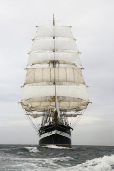 The four-masted Russian barque and tall ship  'Kruzenshtern' was built in 1926. After the 'Sedov', she is the largest traditional sailing vessel still in operation. #Russia