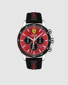 Ferrari Pilota, Quartz Stainless Steel and Silicone Strap Casual Watch, Black, Men, 830595 Casual Watches, Cool Watches, Watches For Men, Ferrari Watch, Luxury Car Brands, Black Models, Watch Brands, Chronograph, Quartz