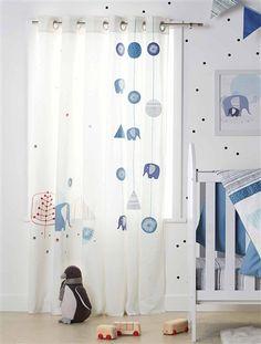 Baumwoll-Vorhang mit Elefant WEIß