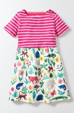 Main Image - Mini Boden Mixed Print Dress (Toddler Girls, Little Girls & Big Girls)