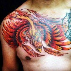 Phoenix Tattoo Ideas For Guys - Best Phoenix Tattoos For Men - Cool Phoenix Tattoo Designs and Ideas Phoenix Tattoo For Men, Small Phoenix Tattoos, Phoenix Tattoo Design, Bird Tattoo Men, Bird Tattoo Back, Cover Up Tattoos, Arm Tattoos For Guys, Pretty Tattoos, Beautiful Tattoos