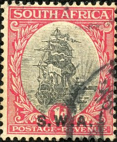"""South West Africa 1927 Scott 97 carmine & black Overprint type """"r"""" Old Stamps, Rare Stamps, Vintage Stamps, Union Of South Africa, Stamp Values, Stamp Making, Tampons, African History, West Africa"""