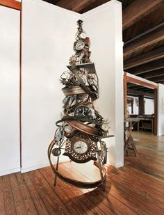This is the type of stuff I imagined my welder husband would be producing in his shop - steampunk christmas tree (it doesn't happen)