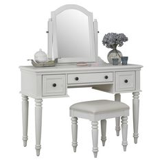 Featuring a 3 drawer console, complementing stool, and a mirror, this classic vanity set is perfect placed in your power room or master suite. ...