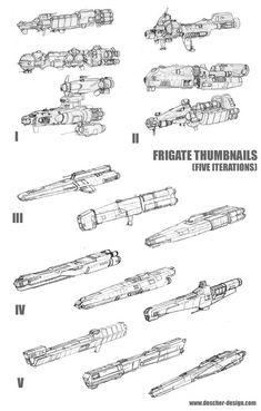 Frigate Thumbnail Concepts by MikeDoscher on DeviantArt Spaceship Art, Spaceship Design, Cyberpunk, Robot Technology, Technology Gadgets, Concept Ships, Concept Art, Starship Concept, Sci Fi Spaceships