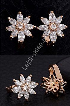 Evening earrings - crystal flower.Eleganckie kolczyki kwiatki platynowane 18K  złotem z cyrkonią z diamentowym szlifem | kolczyki kwiatki wieczorowe, ślubne