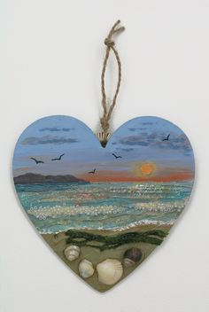 'Sunset Beach'- mixed media on a wooden heart (SOLD)