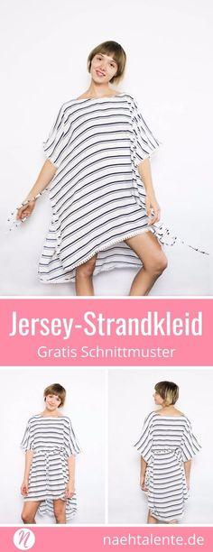 Einfaches Strandkleid aus Jersey für Damen. Grösse S - XL. Geeignet für leichten mittelschweren Jerseys. Einfaches Kleid im Kaftan-Stil. Mit ✂️ Nähtalente - Das Magazin für Hobbyschneider/innen mit Schnittmuster-Datenbank ✂️ Free sewing pattern for an easy beach coverup. Size 6 - 22 ✂️ Nähtalente - Magazin for sewing and free sewing pattern ✂️ #nähen #freebook #schnittmuster #gratis #nähenmachtglücklich #freesewingpattern #handmade #diy via @Naehtalente