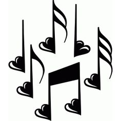 Silhouette Design Store - View Design music notes with hearts Silhouette Cameo, Silhouette Tattoos, Silhouette Portrait, Silhouette Design, Music Silhouette, Note Tattoo, Music Symbols, Music Drawings, Music Clips