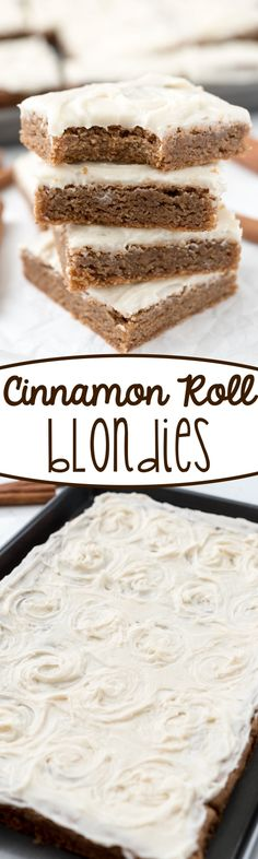 Cinnamon Roll Blondies - this easy blondie recipe is FILLED with cinnamon and topped with cream cheese icing, just like a cinnamon roll!