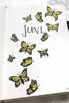 Check out the best butterfly themed bullet journal spreads, covers, and layouts for inspiration! Bullet Journal And Diary, March Bullet Journal, Bullet Journal Spread, Bullet Journal Ideas Pages, Bullet Journal Inspiration, Bee Drawing, Butterfly Drawing, Rose Doodle, August Themes