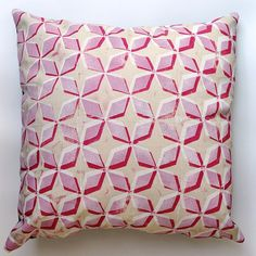Red Prism Block Printed Cushion/Pillow Cover, invisible zip. 45.00, via Etsy.